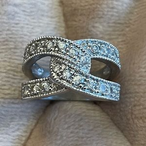 Sterling silver cross over band